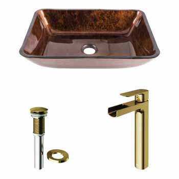 Sink & Amada Vessel Faucet in Matte Brushed Gold w/ Pop-Up Drain