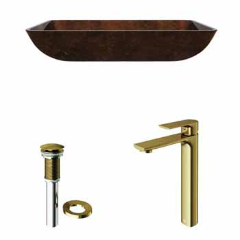 Sink & Norfolk Vessel Faucet in Matte Brushed Gold w/ Pop-Up Drain