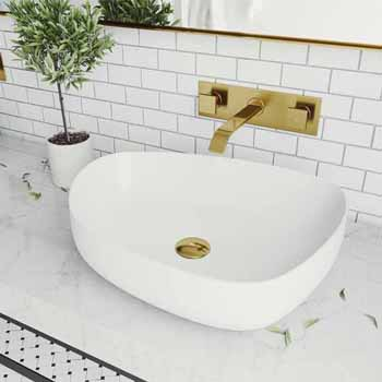 Sink & Titus Wall Mount Bathroom Faucet in Matte Brushed Gold w/ Pop-Up Drain