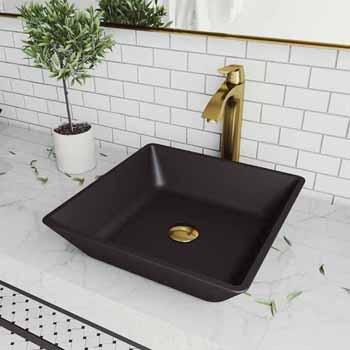 Sink & Linus Vessel Mount Bathroom Faucet in Matte Brushed Gold w/ Pop-Up Drain