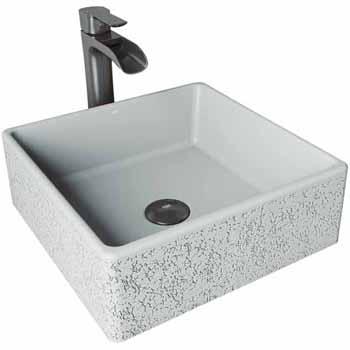 Sink Set w/ Niko Vessel Mount Faucet in Graphite Black w/ Pop-Up Drain