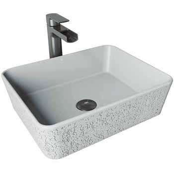 Sink Set w/ Amada Vessel Mount Faucet in Graphite Black w/ Pop-Up Drain