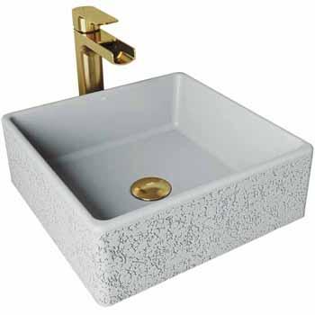 Sink Set w/ Amada Vessel Mount Faucet in Matte Brushed Gold w/ Pop-Up Drain