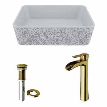 Sink Set w/ Niko Vessel Mount Faucet in Matte Brushed Gold w/ Pop-Up Drain