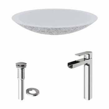Sink Set w/ Amada Vessel Mount Faucet in Brushed Nickel w/ Pop-Up Drain