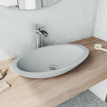 Sink Set w/ Niko Vessel Mount Faucet in Chrome w/ Pop-Up Drain