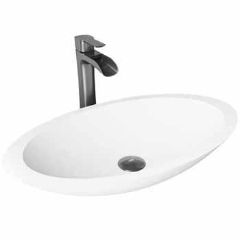 Sink & Niko Vessel Mount Faucet in Graphite Black w/ Pop-Up Drain