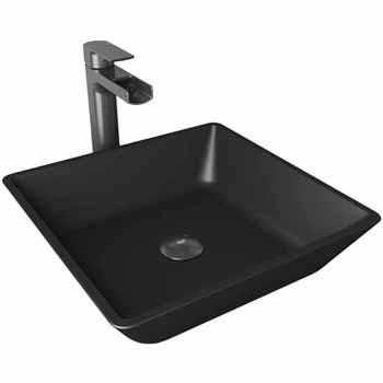 Sink & Amada Vessel Mount Faucet in Graphite Black w/ Pop-Up Drain