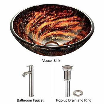 "Vigo Northern Lights Glass Vessel Sink And Faucet Set In Brushed Nickel - 18-1/2"" Diameter x 6""H"