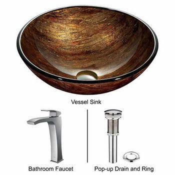 "Vigo Amber Sunset Glass Vessel Sink And Faucet Set In Chrome - 16-1/2"" Diameter x 6""H"