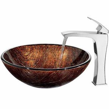 "Vigo Kenyan Twilight Glass Vessel Sink And Faucet Set In Chrome - 16-1/2"" Diameter x 6""H"