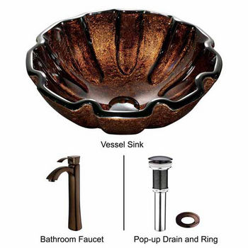 "Vigo Walnut Shell Glass Vessel Sink And Faucet Set In Oil Rubbed Bronze - 16-1/2"" Diameter x 6""H"