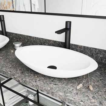 Sink & Gotham Faucet in Matte Black w/ Pop-Up Drain