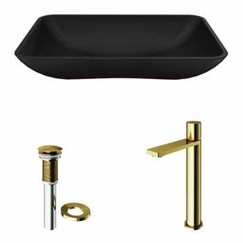 Sink & Gotham Faucet in Matte Brushed Gold & Matte Black w/ Pop-Up Drain