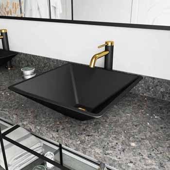 Sink & Lexington cFiber Faucet in Matte Brushed Gold & Matte Black w/ Pop-Up Drain