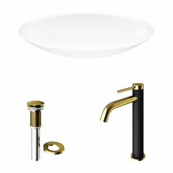 Sink & Lexington cFiber Faucet in Matte Brushed Gold & Matte Black w/ Pop-Up Drain