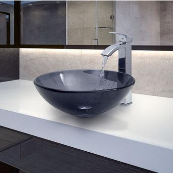 "Vigo VIG-VGT252, Sheer Black Glass Vessel Sink and Faucet Set in Chrome, 16-1/2"" Diameter x 6"" H"