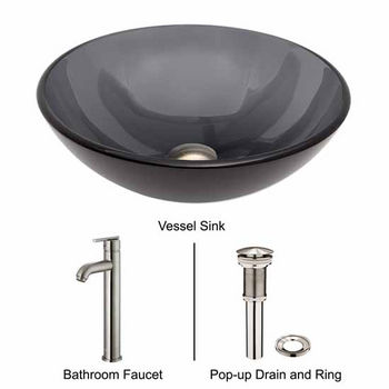 Vigo VIG-VGT257, Sheer Black Glass Vessel Sink and Faucet Set in Brushed Nickel