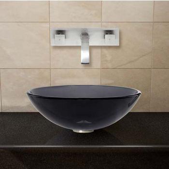 Vigo VIG-VGT262, Sheer Black Glass Vessel Sink and Wall Mount Faucet Set in Brushed Nickel