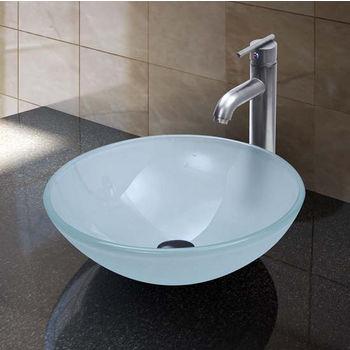 Vigo VIG-VGT270, White Frost Vessel Sink and Faucet Set in Brushed Nickel