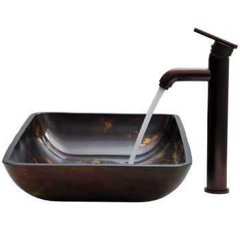 """Vigo VIG-VGT276, Rectangular Brown and Gold Fusion Glass Vessel Sink and Faucet Set in Oil Rubbed Brozne, 22-1/4"""" W x 14-1/2"""" D x 4-1/2"""" H"""