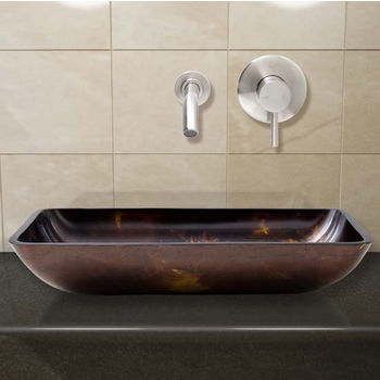 Vigo VIG-VGT279, Rectangular Brown and Gold Fusion Glass Vessel Sink and Wall Mount Faucet Set in Brushed Nickel