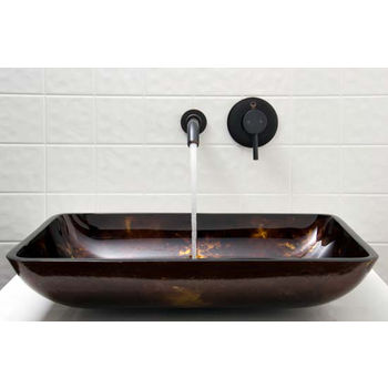Vigo VIG-VGT280, Rectangular Brown and Gold Fusion Glass Vessel Sink and Wall Mount Faucet Set in Antique Rubbed Bronze