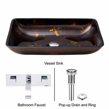 Vigo VIG-VGT281, Rectangular Brown and Gold Fusion Glass Vessel Sink and Wall Mount Faucet Set in Chrome