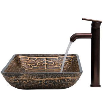 "Vigo VIG-VGT284, Rectangular Golden Greek Glass Vessel Sink and Faucet Set in Oil Rubbed Bronze, 22-1/4"" W x 14-1/2"" D x 4-1/2"" H"