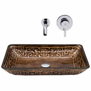 Vigo VIG-VGT286, Rectangular Golden Greek Glass Vessel Sink and Wall Mount Faucet in Chrome