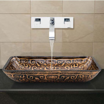 Vigo VIG-VGT289, Rectangular Golden Greek Glass Vessel Sink and Wall Mount Faucet in Chrome