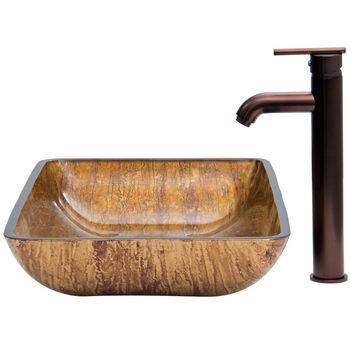 "Vigo VIG-VGT292, Rectangular Amber Sunset Glass Vessel Sink and Faucet Set in Oil Rubbed Bronze, 22-1/4"" W x 14-1/2"" D x 4-1/2"" H"