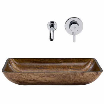 Vigo VIG-VGT294, Rectangular Amber Sunset Glass Vessel Sink and Wall Mount Faucet Set in Chrome