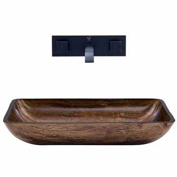 Vigo VIG-VGT299, Rectangular Amber Sunset Glass Vessel Sink and Wall Mount Faucet in Antique Rubbed Bronze