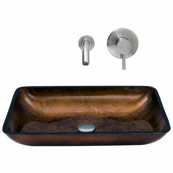 Vigo VIG-VGT303, Rectangular Russet Glass Vessel Sink and Wall Mount Faucet Set in Brushed Nickel
