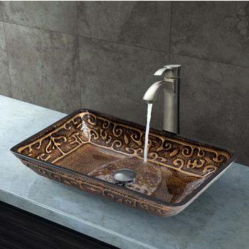 Vigo VIG-VGT311, Rectangular Golden Greek Glass Vessel Sink and Otis Faucet Set in Brushed Nickel