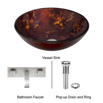 Vigo VIG-VGT317, Brown and Gold Fusion Glass Vessel Sink and Titus Wall Mount Faucet Set in Brushed Nickel