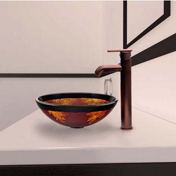 Vigo VIG-VGT318, Auburn/Mocha Fusion Glass Vessel Sink and Seville Faucet Set in Oil Rubbed Bronze