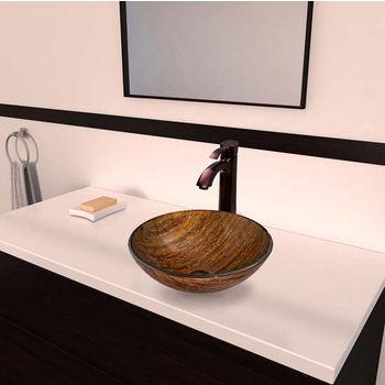Vigo VIG-VGT342, Amber Sunset Glass Vessel Sink and Otis Faucet Set in Oil Rubbed Bronze