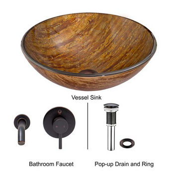 Vigo VIG-VGT343, Amber Sunset Glass Vessel Sink and Olus Wall Mount Faucet Set in Antique Rubbed Bronze