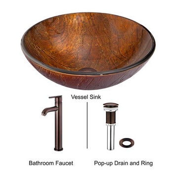 Vigo VIG-VGT347, Kenyan Twilight Glass Vessel Sink and Seville Faucet Set in Oil Rubbed Bronze