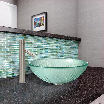 Icicles Glass Vessel Sink Set Dior Faucet Set