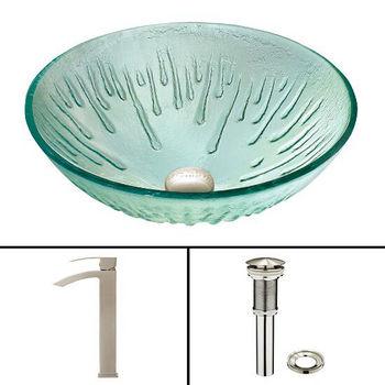 Icicles Glass Vessel Sink Set Duris Faucet Set