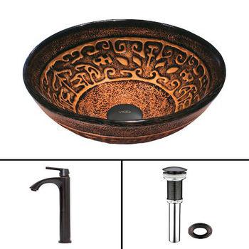 Golden Greek Glass Vessel Sink Set Linus Faucet Set