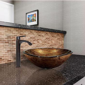 Amber Sunset Glass Vessel Sink Set Linus Faucet Set