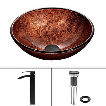 Mahogany Moon Glass Vessel Sink Set Duris Faucet Set