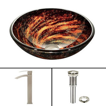 Northern Lights Glass Vessel Sink Set Duris Faucet Set