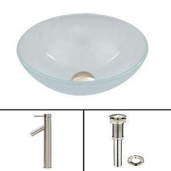 White Frost Glass Vessel Sink Set Dior Faucet Set