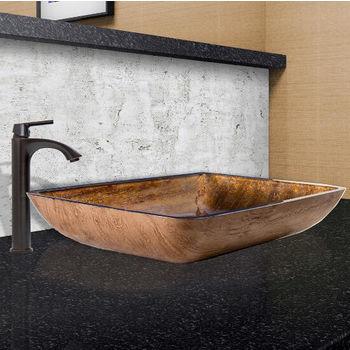 Rectangular Amber Sunset Glass Vessel Sink Set Linus Faucet Set