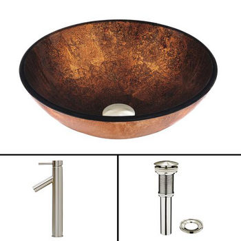 Russet Glass Vessel Sink and Dior Faucet Set